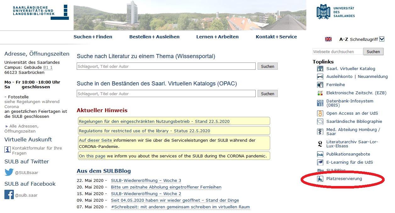 Verlinkung des Portals auf der Website